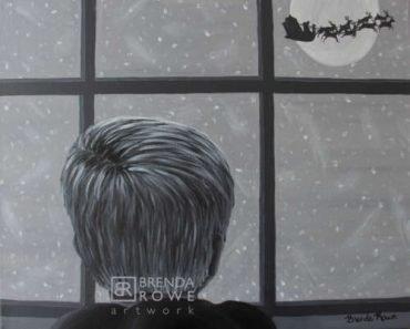 slumber awaits child in window santa