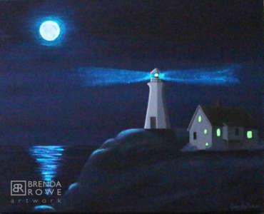 glowing beacon night
