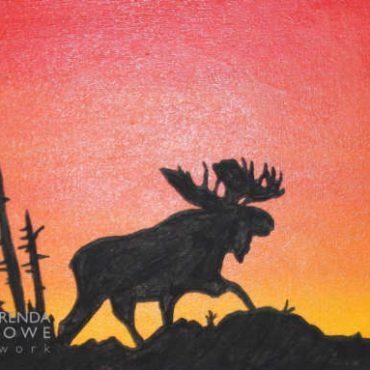 shinign icon moose sunset