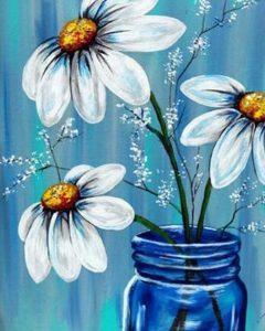 daisies in jar